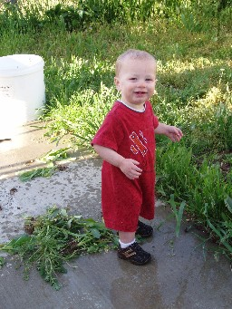 Hayden watering the lawn