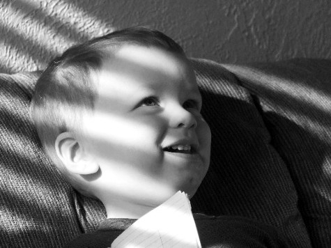 arty b/w photo of Hayden at 26 months