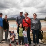 Whole family by a hot spring